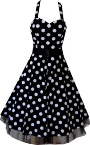 Pretty Kitty Fashion 50s Groß Polka Dot Schwarz Weiß Neckholder Cocktail Kleid