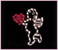 VALENTINES DAY LIGHTED CUPID HEART WINDOW DECORATION ...