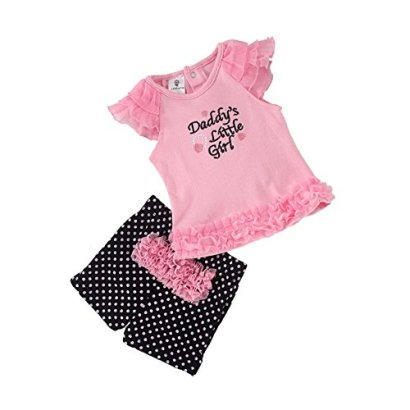 Baby-Girls-Daddys-Little-Girl-Tops-And-Dot-Pants-Set-6M