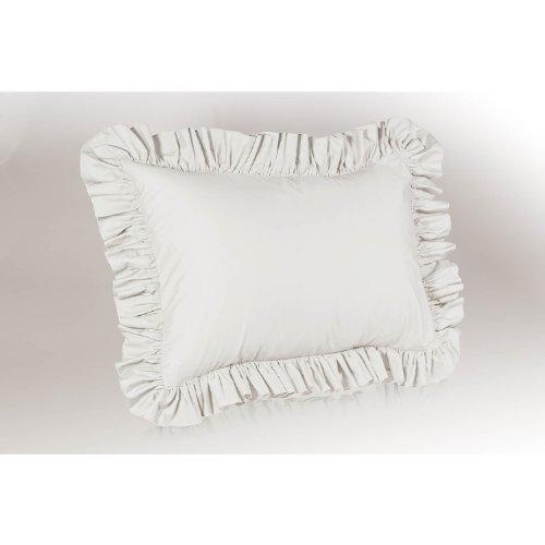 PolyCotton Ruffled Pillow Sham Standard White 1339