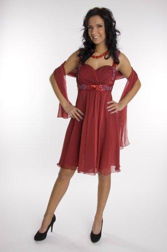 Modell 2062 Abendkleid knielang, Träger, weinrot Größe 50