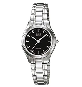 LTP1275 3-Hand Analog Ladies Fashion Black Face Silver