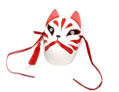 【コスプレ】 小物 狐 (きつね) お面 仮面 マスク 覆面 手作り 色塗り お稲荷様 演劇 お芝居などに 狐面 全顔