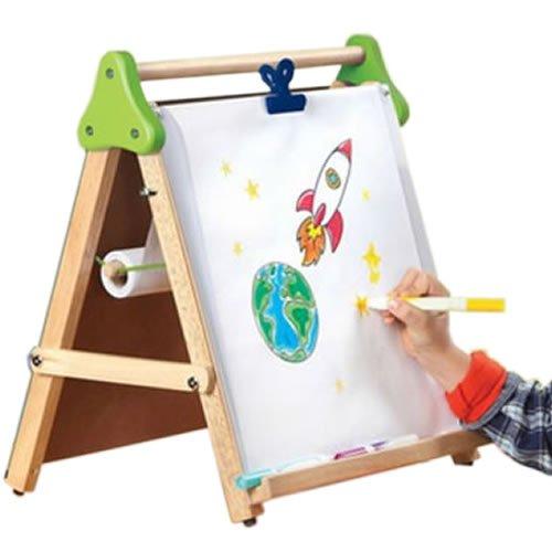 【 お絵かき セット 】 親子 で 楽しめる 木製 ペイント ボード 黒板 + 白板 折り畳み 式 練習 絵 画 スケッチ 落書き MI-3PAINT