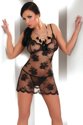 LH Dessous 11822 Größe L.Nachthemd Negligé Set aus Spitze von LivCo Corsetti, inklusive Stringtanga