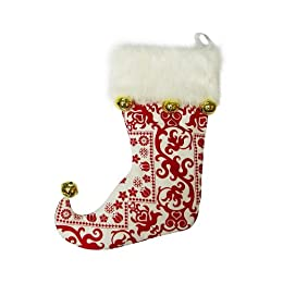 "Product Image Flocked Stocking with Bells - Red (23"")"