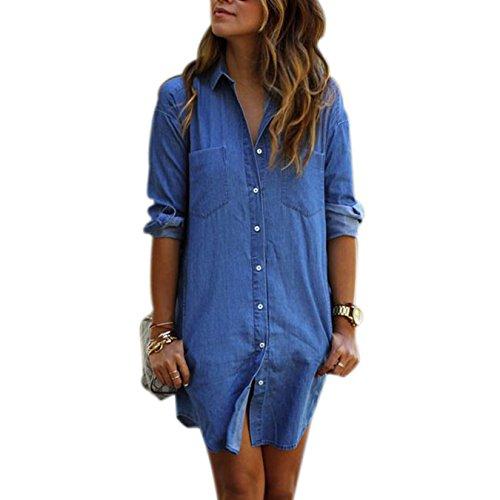 Stylische Damen Casual Jeanskleider Frauen Denim Hemd Langarm Shirtkleider Einfarbig T-shirt Tops Mit Pockets
