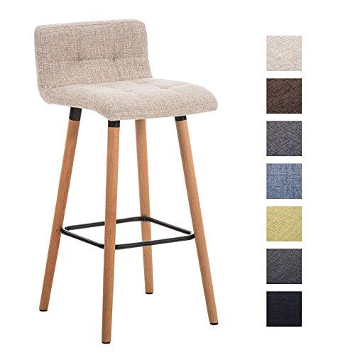 CLP Barhocker LINCOLN, Stoffbezug, Holzgestell, Sitzhöhe 75 cm, Rückenlehne + Fußstütze für optimalen Komfort