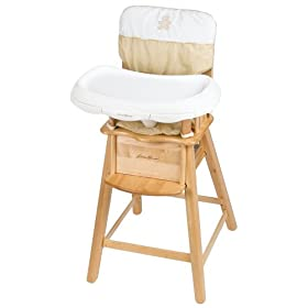eddie bauer high chairs childrens wooden table and set overstock baby gear chair with a light finish the b is for bear comes removable fabric pad that s machine washable it normal sized tray