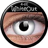 Farbige Kontaktlinsen crazy Kontaktlinsen crazy contact lenses weiß weiss white out 'Dämon' 1 Paar mit 60ml Kombilösung und Linsenbehälter