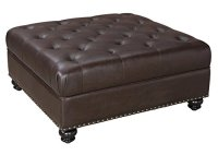 Dorel Living Hastings Tufted Faux Leather Square Ottoman
