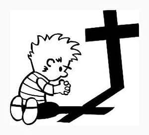Amazon.com: BOY PRAYING AT THE CROSS White Vinyl Sticker