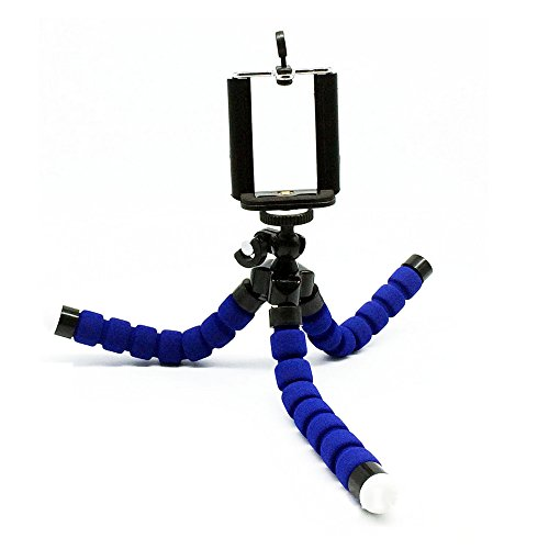 iphone用三脚ホルダー デジカメスタンド スマホ対応 モバイル iphone7 アイフォン6 クネクネ三脚 ブルー