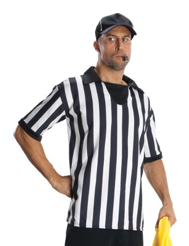Rubie's Costume Heroes And Hombres Adult Referee Shirt And Hat, White/Black, Standard