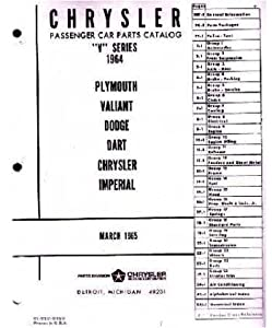 Amazon.com: 1964 Chrysler Plymouth Dodge Part Numbers Book