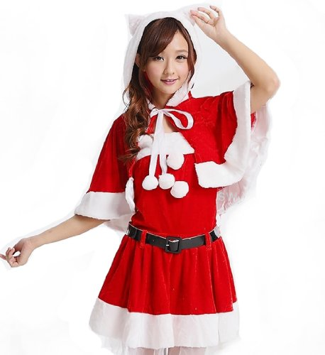 【ノーブランド品】クリスマス サンタクロース 衣装コスプレ萌系ネコ耳フーディーショール、トップス、スカート、レッグカバー、ベルト5点セット