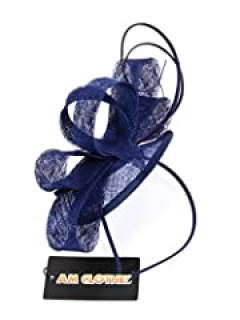 Womens Lady Girls Cocktail Elegant Fascinator Headwear with Headband (navy blue)