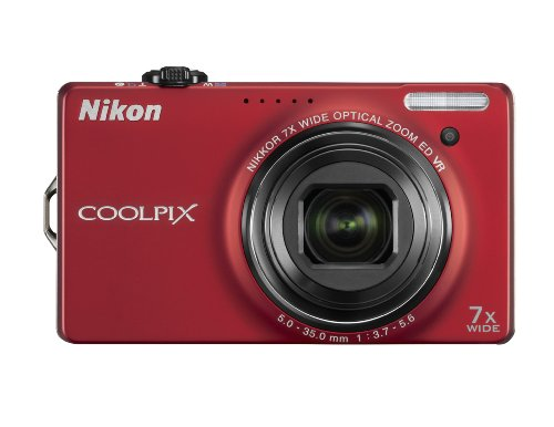 Nikon Coolpix S6000 14 MP Digital Camera with 7x Optical Vibration Reduction (VR) Zoom and 2.7-Inch LCD (Red)