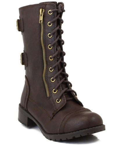 Soda Dome-SA Vegan Lace Up Mid Calf Women Military Boot (8, Dark Brown)