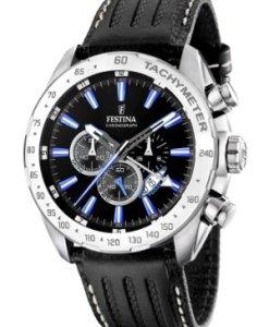 FESTINA F16489/3 - Reloj de caballero de cuarzo, correa de piel color negro