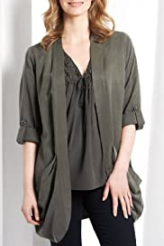 Open Front Slouch Pocket Jacket [T56-9708-S]