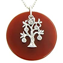Money Tree Carnelian Protection Amulet Silver Pendant Necklace