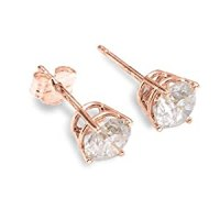 Amazon.com: 14K Rose Gold Genuine 0.20ctw Diamond Earrings