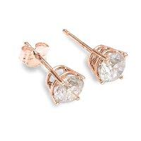 Amazon.com: 14K Rose Gold Genuine 0.20ctw Diamond Earrings ...