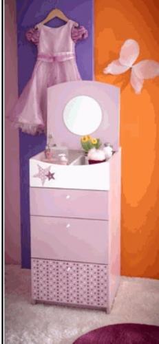 Demeyere 299411 Frisierkommode FEE, 44,6 x 87,7 x 52,4 cm, rosa / weiß
