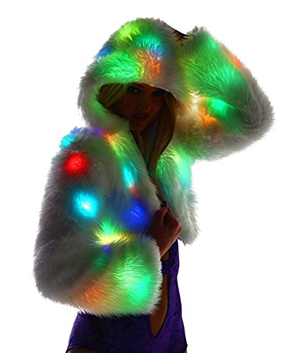 iHeartRaves Light Up Cropped Rave Fur Jacket