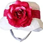 Girls Spring / Summer Floppy Hat – White Pink Flower 12-18 mo