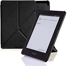 Amazon Kindle Voyage Case Cover, Leather Origami Stand, Book Folio Style, Secured with Magnetic Closure, Front Lid Attaches to the Back By Magnets, Rubberized Hard Back Shell Cover, with Smart Auto Sleep / Wake up Function, Ultra Slim and Light Weight, Thin, Onyx Black, Designed and Manufactured By Nouske Only