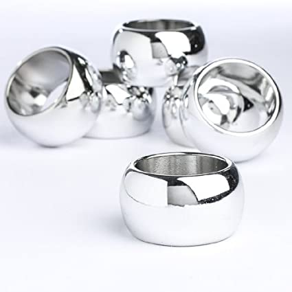 Set of 12 Plastic Silver Napkin Rings for Special Events, Weddings or Party