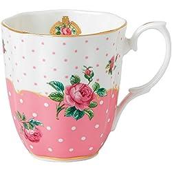 Royal Albert - Taza (0,4L), diseño vintage de rosas, color rosa