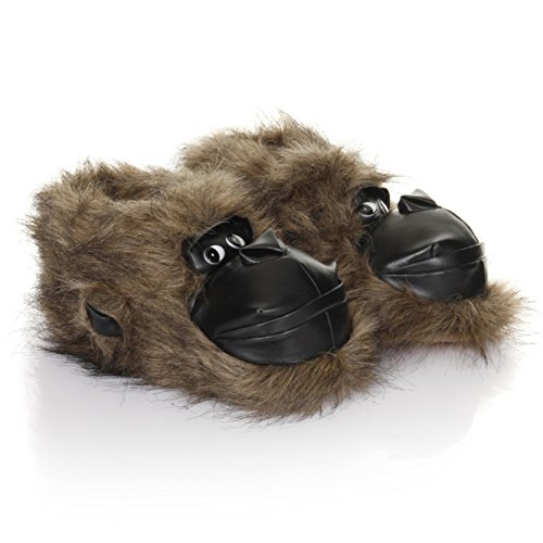 Mens Gorilla Design Faux Fur Slippers (10-11 US) (Light Brown)