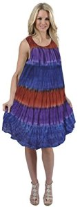 La-Leela-La-Leela-RAYON-Women-Beach-Sun-Dress-Coverup-Ari-HAND-Tie-dye-TUNIC-Red