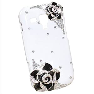 Bling Strass Noir Fleur Etui Housse Coque pour Samsung