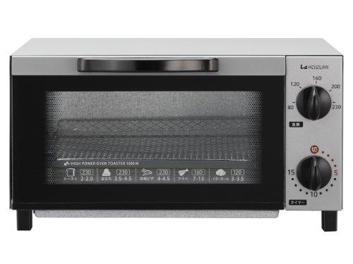 KOIZUMI【温度調節機能付 1000Wハイパワー 食パン2枚焼き】オーブントースター シルバー KOS-1013/S