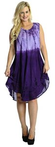 La-Leela-RAYON-Beach-Dress-Women-Cover-up-CASUAL-Hand-Tie-Dye-Purple-Printed