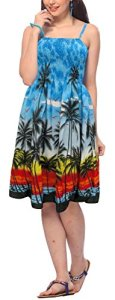 La-Leela-Palm-Tree-SUNDRESSBeach-Cover-upSwimwearMAXI-SKIRTTube-Dress-Blue