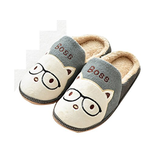 Gray Men's Autumn Winter Cat Boss Slip Cotton Indoor Slippers (38.5Cm(42/43))
