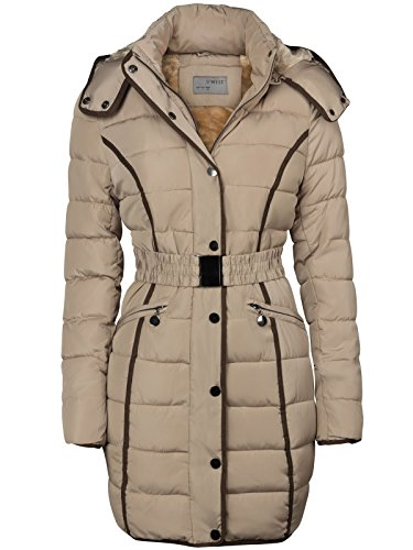 DAMEN WINTER STEPP MANTEL FELL KAPUZE GEFÜTTERT JACKE LANG PARKA WINTERMANTEL