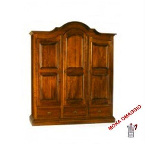 CLASSICO armadio legno mobile 3 ante 3 cassetti per