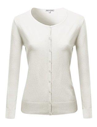 Basic-Classic-Round-Neck-Button-Up-Cardigan-White-M-Size