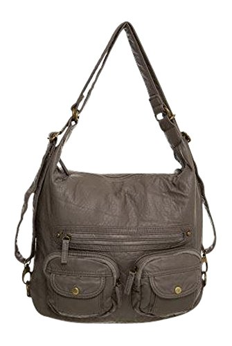 Convertible Purse - Both Backpack and Shoulder Bag in Soft Vegan Leather Gray