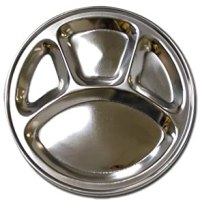 Amazon.com | Stainless Steel Round Divided Dinner Plate 4 ...