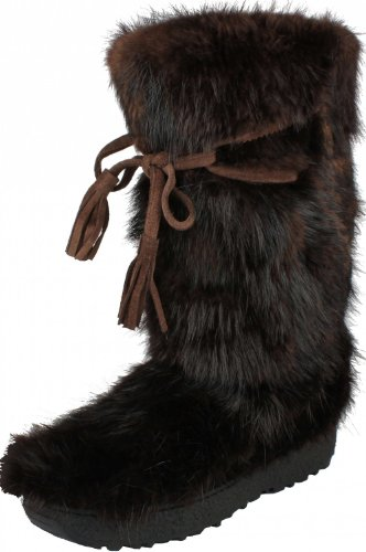 Original OSCAR Sport After Ski Fellstiefel Winterstiefel mit ECHTFELL Bisam Fashion Style Hand Made in ITALY , Größe:41;Farbe:Braun