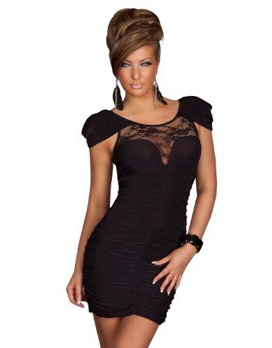 Super Sexy Stretch-Minikleid Kleid mit Spitzen-Einsatz in Schwarz Gr 38 40
