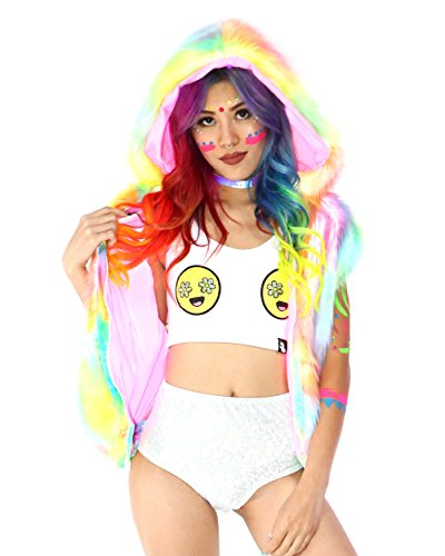 iHeartRaves Light Up Tie Dye Rave Fur Vest