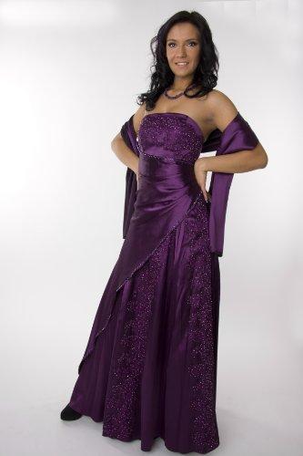 Modell 2034 Abendkleid lang, schulterfrei, lila Größe 42